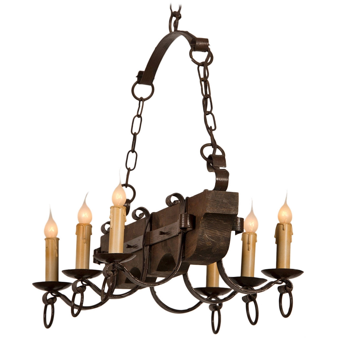 Famous Vintage Wrought Iron Chandelier Throughout Rustic Kitchen Or Dining Room Lighting Ideas With Vertical Wooden (View 5 of 20)