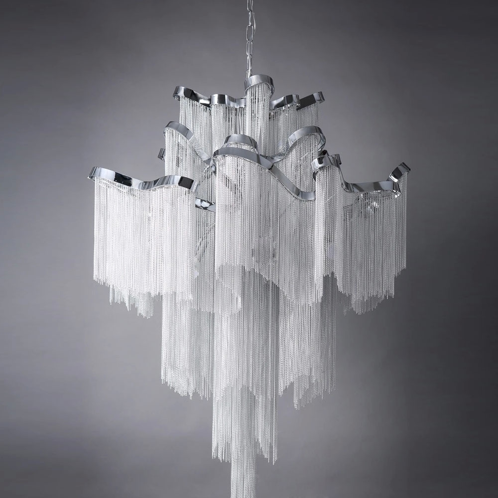 Famous Waterfall Crystal Chandelier For Retro European Top Grade Curtain Type Hotel/villa/project Lamp (View 5 of 20)