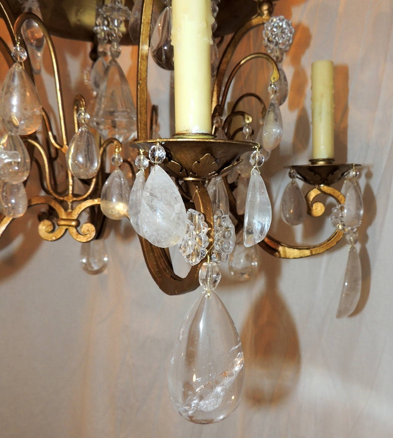 Famous Wonderful Baguès Gold Gilt Pagoda Rock Crystal Vintage Chandelier With Vintage Chandelier (View 5 of 20)