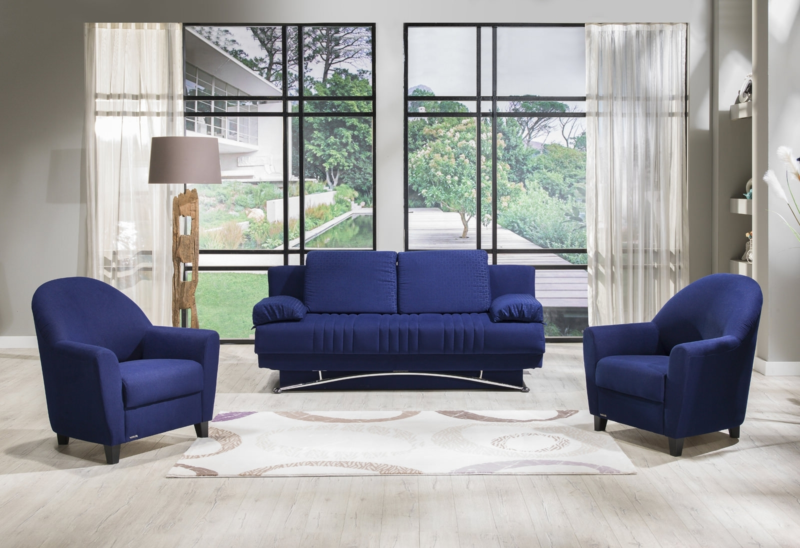 Fantasy Tetris Blue Sofa & 2 Chairs Setsunset With Regard To Current Blue Sofa Chairs (View 7 of 20)