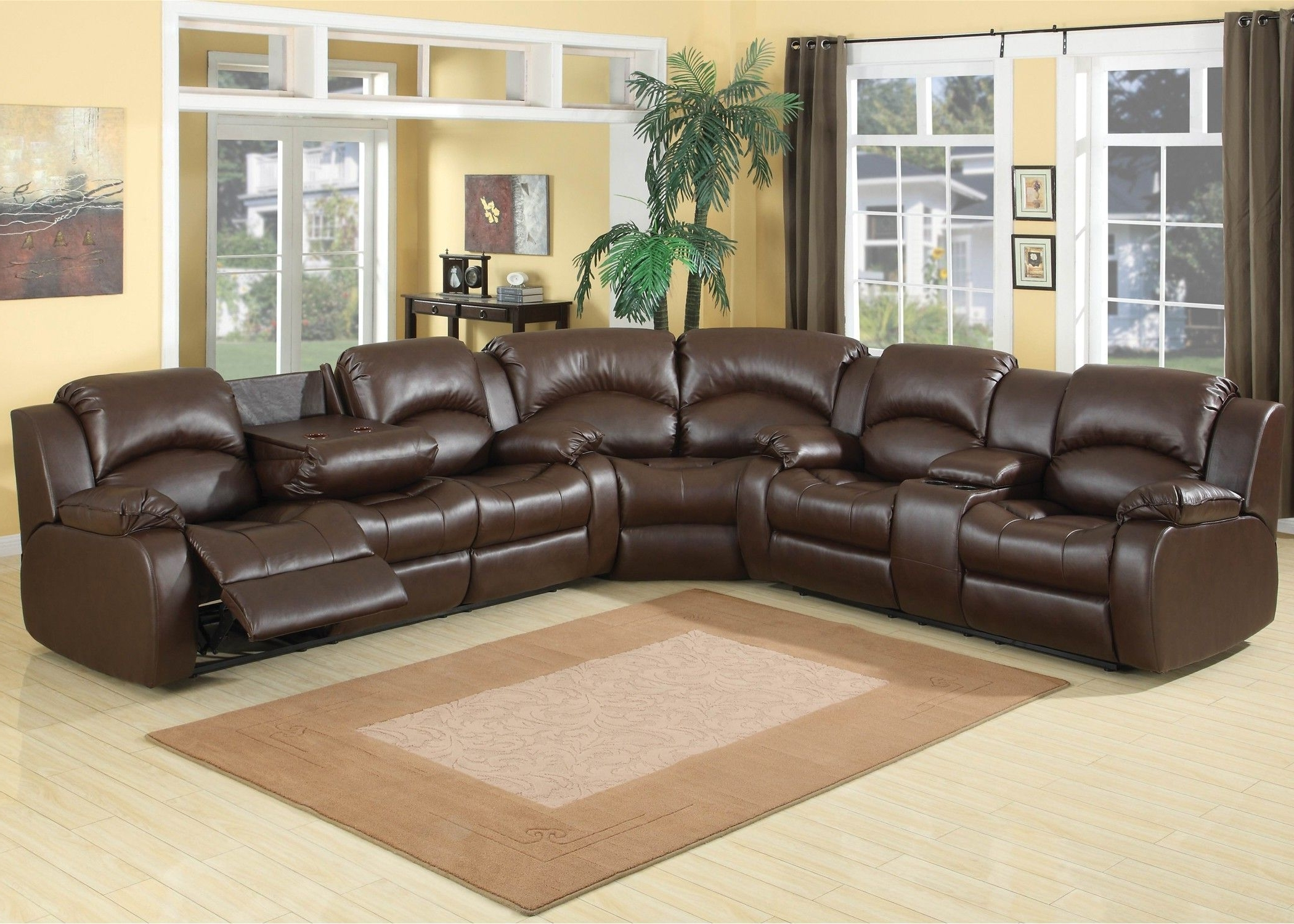 Fashionable Amazing Leather Reclining Sectional Sofa Design: Leather Reclining Within Curved Sectional Sofas With Recliner (View 10 of 20)
