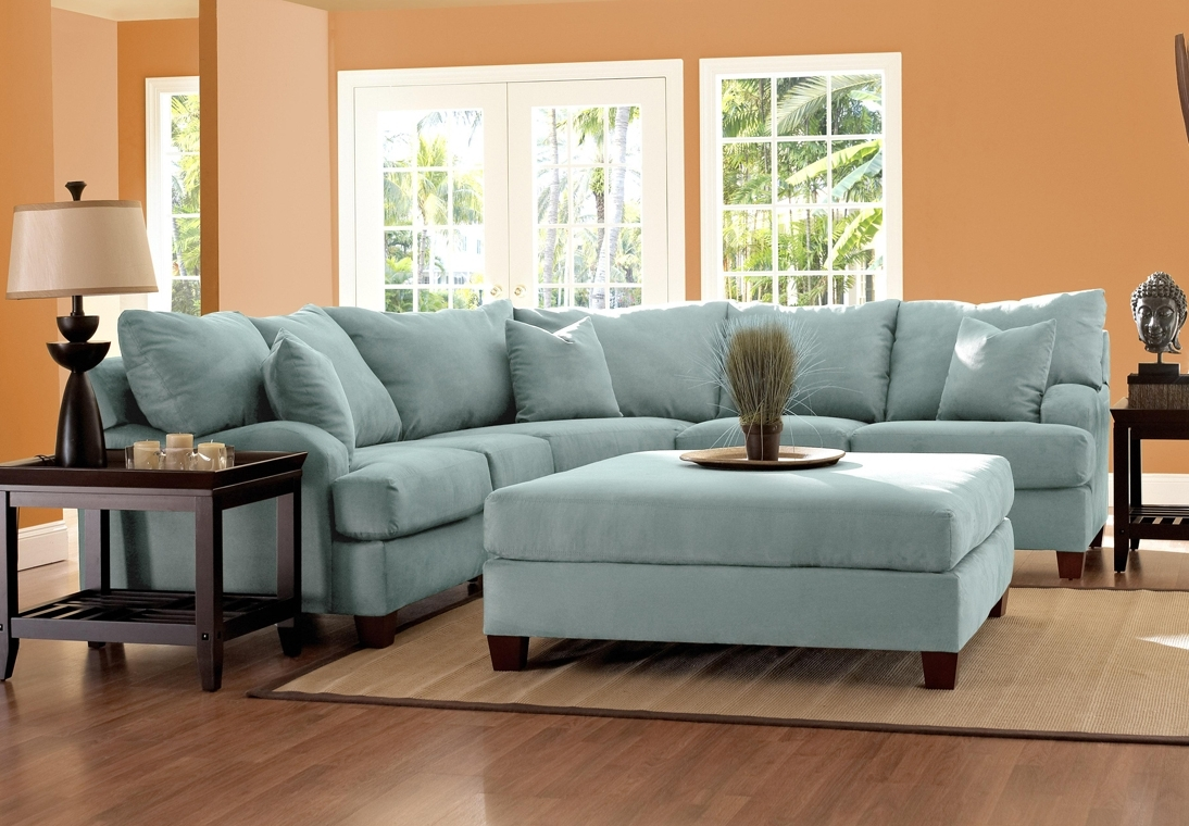 Fashionable Blue Microfiber Sectional Sofa – Cleanupflorida Regarding Microfiber Sectional Sofas (View 6 of 20)