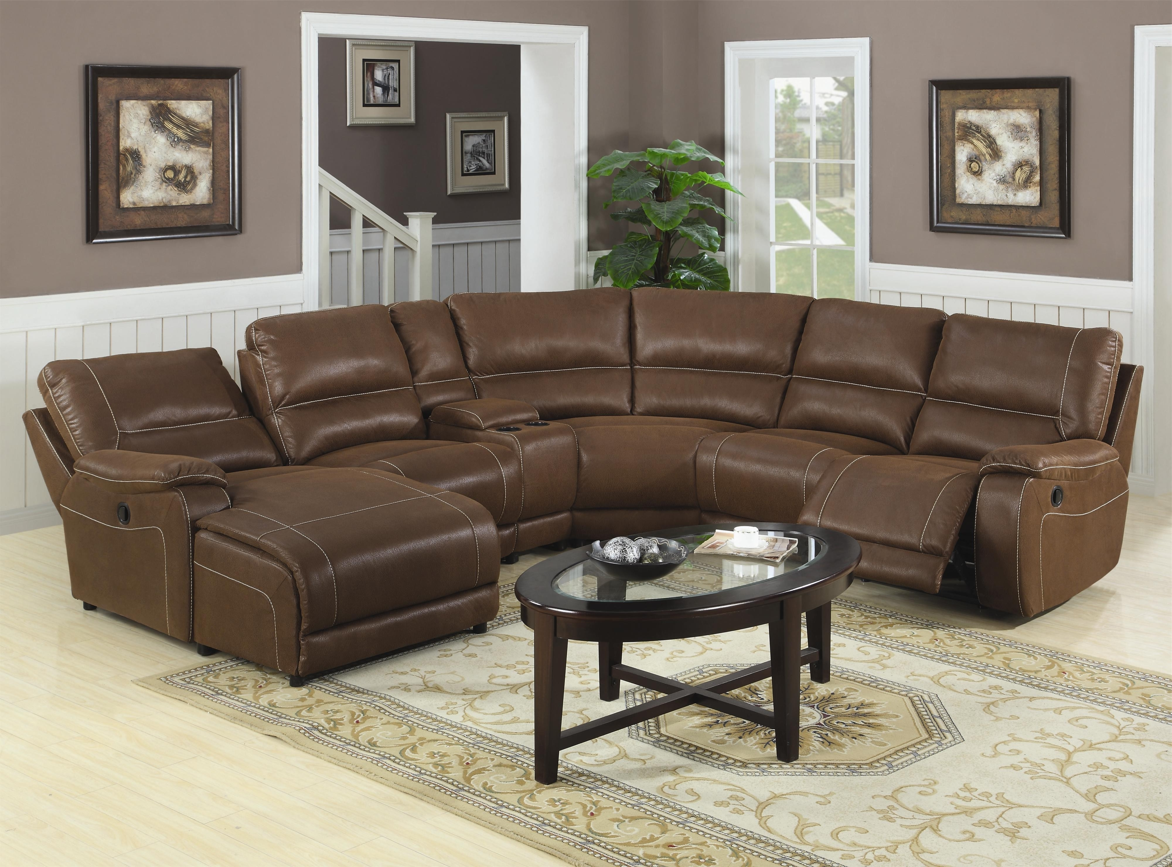 Fashionable Brown Leather Recliner Sectional Sofa With Oval Black Teak Wood In Leather Recliner Sectional Sofas (View 6 of 20)
