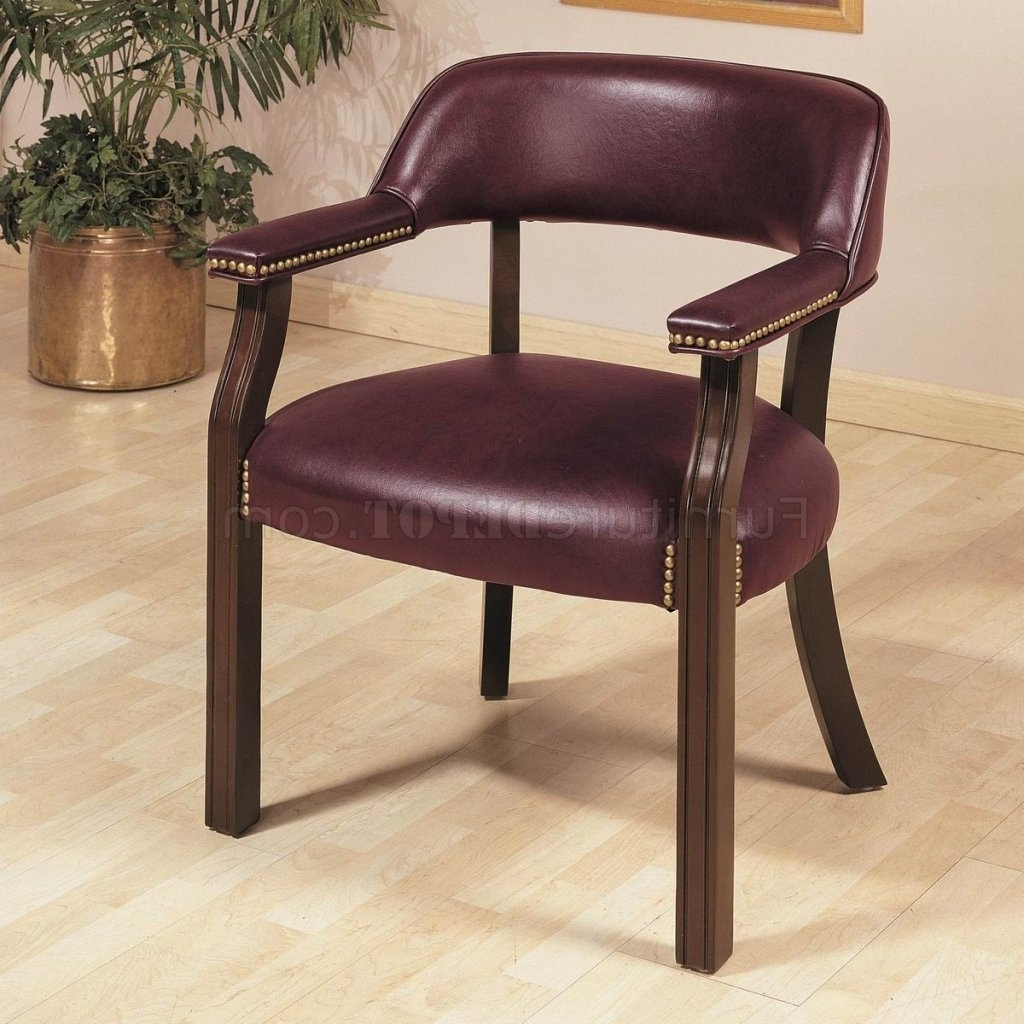 Fashionable Burgundy Vinyl Classic Commercial Office Chair W/nailhead Trim Intended For Upholstered Executive Office Chairs (View 19 of 20)