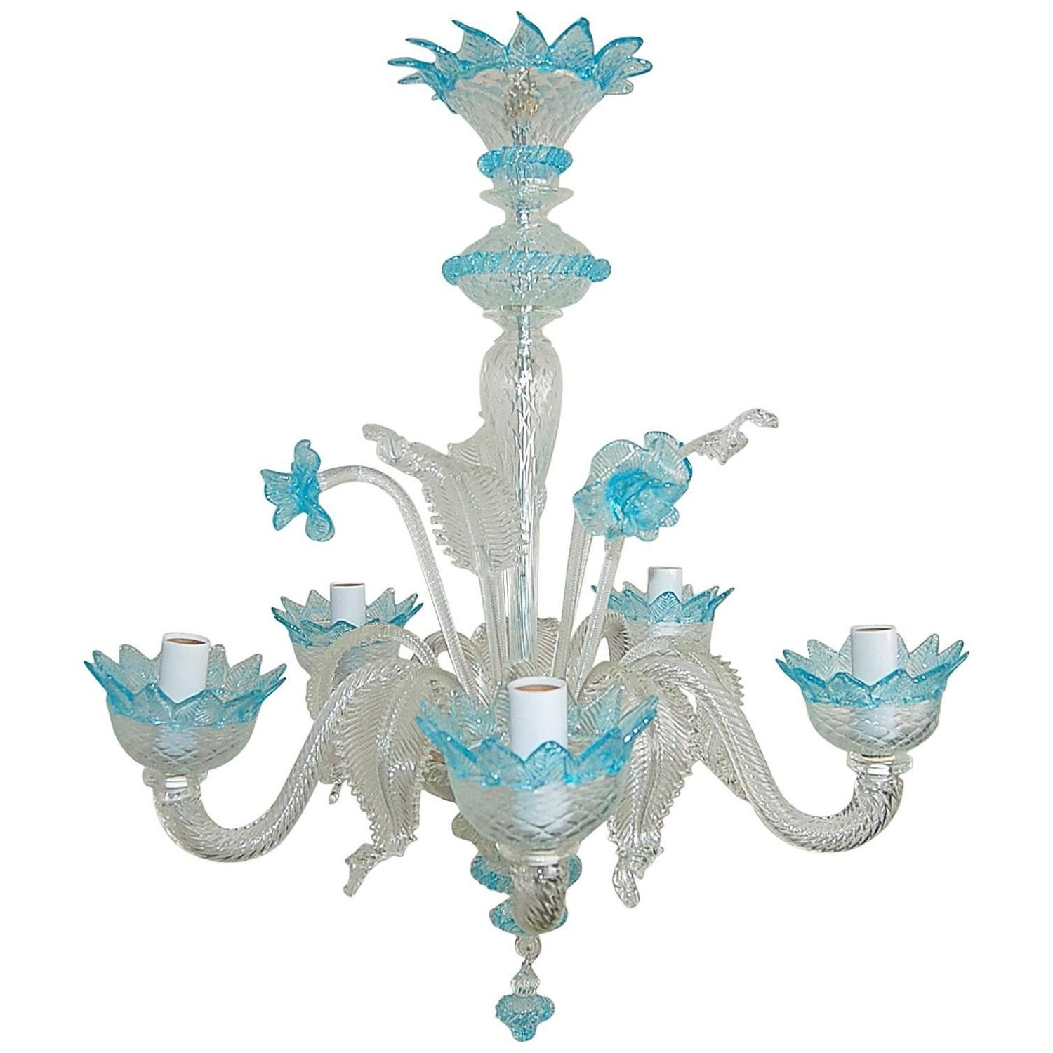 Fashionable Chandelier Murano Glass Of Crystal With Blue Accents For Sale At 1Stdibs With Regard To Turquoise Blue Glass Chandeliers (View 3 of 20)