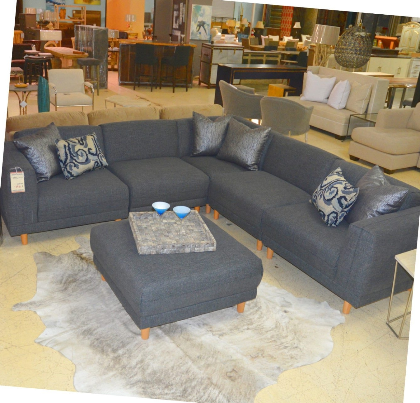 Fashionable Cheap Sectionals With Ottoman In Five Piece Grey Sectional And Ottoman – Horizon Home Furniture (View 11 of 20)