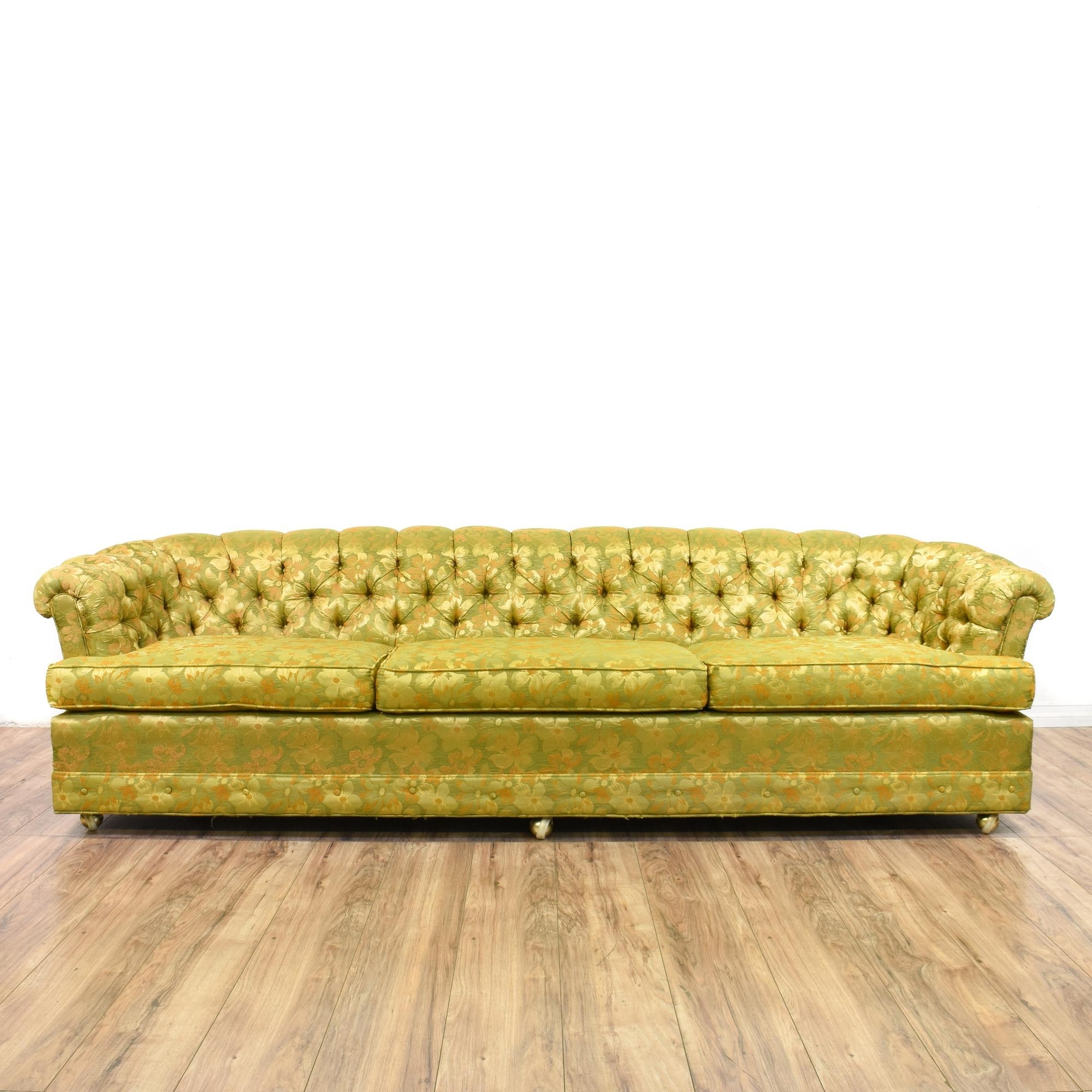 Fashionable Chintz Sofas Pertaining To This Long Chesterfield Sofa Is Upholstered In A Durable Silk Like (View 4 of 20)