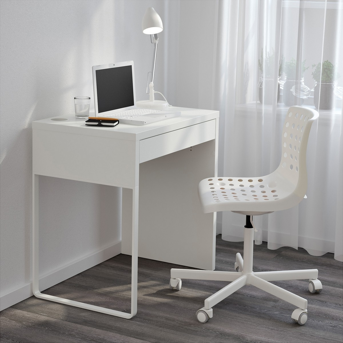 Fashionable Computer Desks For Very Small Spaces Inside Narrow Computer Desk Ikea Micke White For Small Space (View 7 of 20)