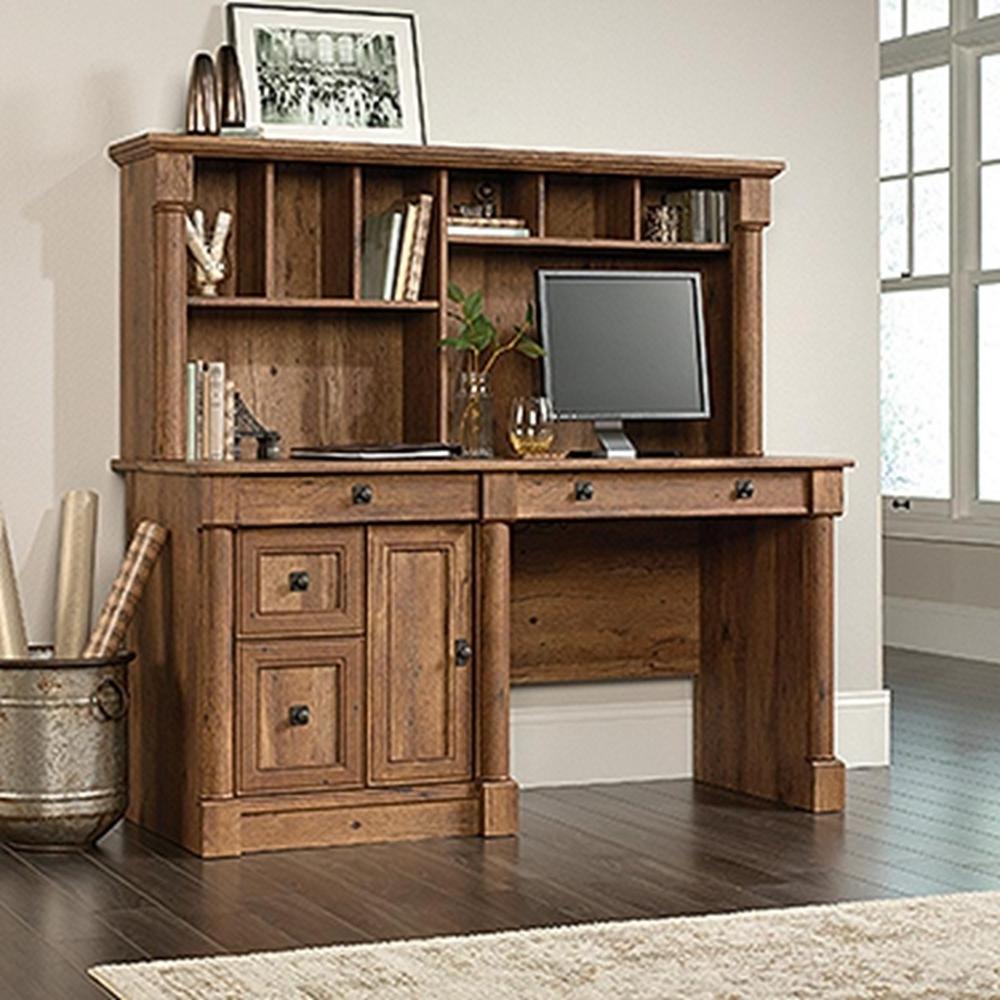 Fashionable Computer Desks In Oak Regarding Sauder Palladia Vintage Oak Computer Desk With Hutch 420713 – The (Gallery 10 of 20)
