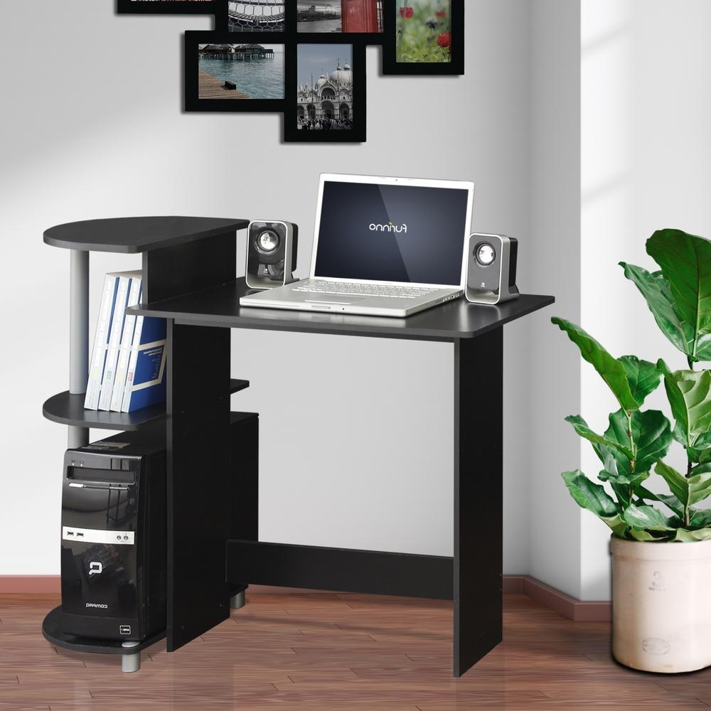 Fashionable Computer Desks Inside Furinno Compact Espresso/black Computer Desk 11181Ex/bk – The Home (View 10 of 20)
