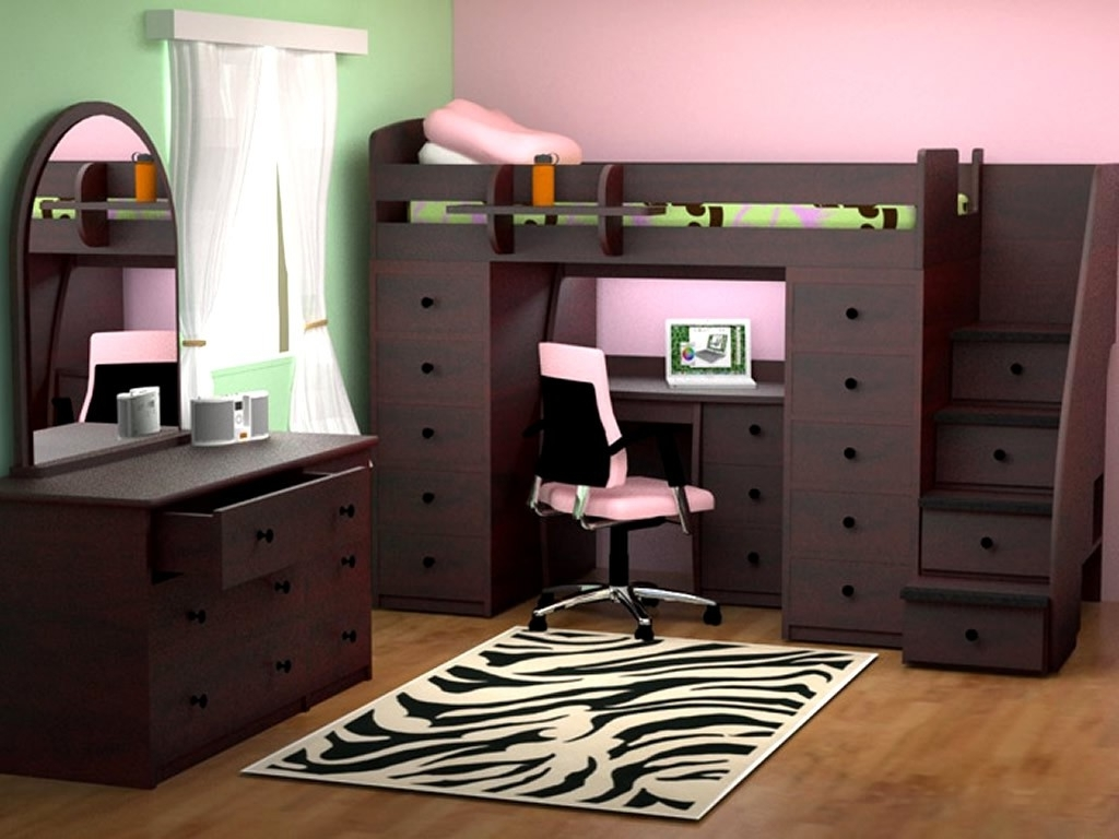 Fashionable Computer Desks Under Stairs Regarding Furniture: Modern Convertible Furniture Beds With Brown Wooden (Gallery 19 of 20)