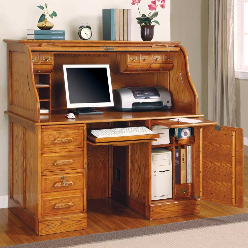 Fashionable Computer Desks With Drawers For Funiture: Corner Office Desk Ideas Using Corner Light Beige Cherry (View 4 of 20)