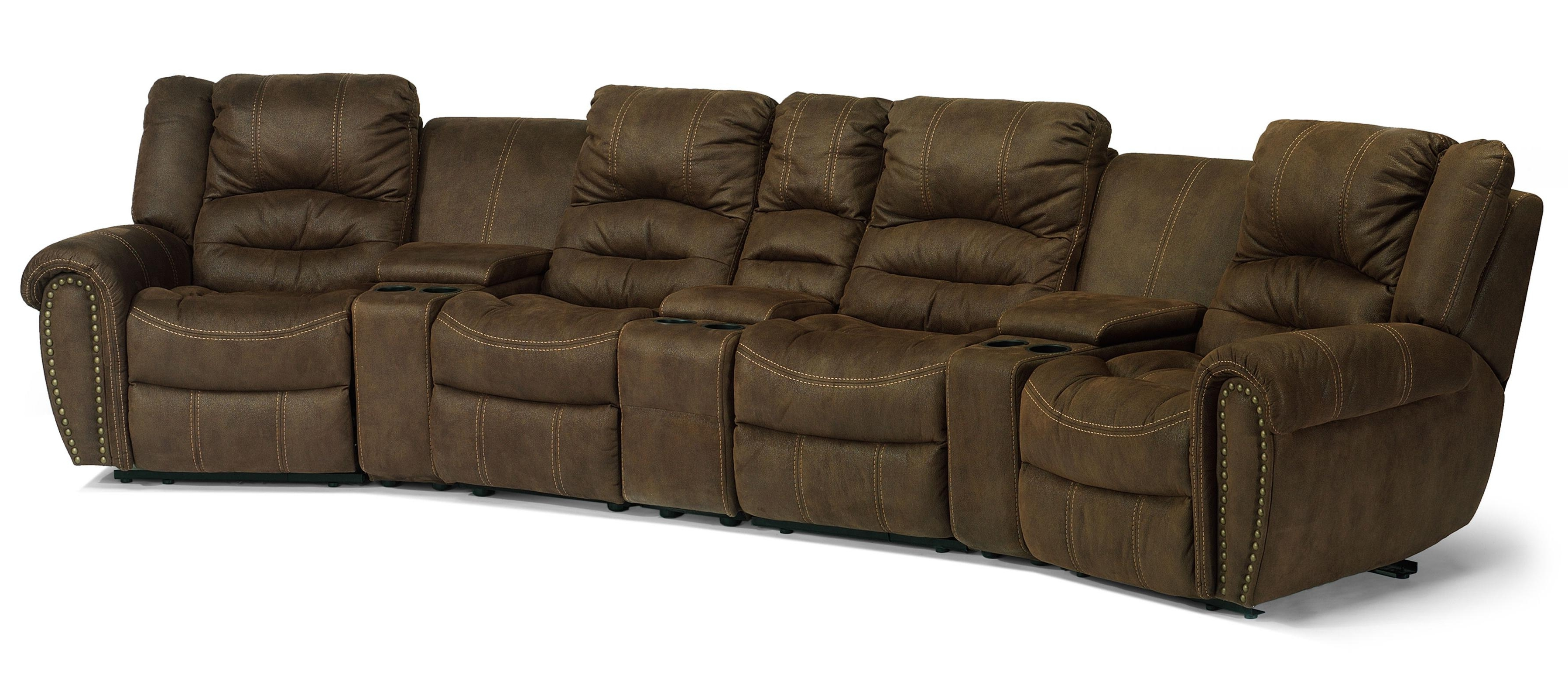Fashionable Curved Recliner Sofas With Regard To Flexsteel Laudes New Town Reclining Sectional Sofa