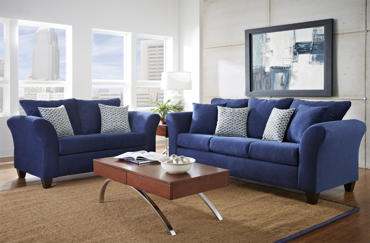 Fashionable Dark Blue Sofas Pertaining To Living Room : Dark Blue Furniture Design With Small Table And Rug (Gallery 1 of 20)