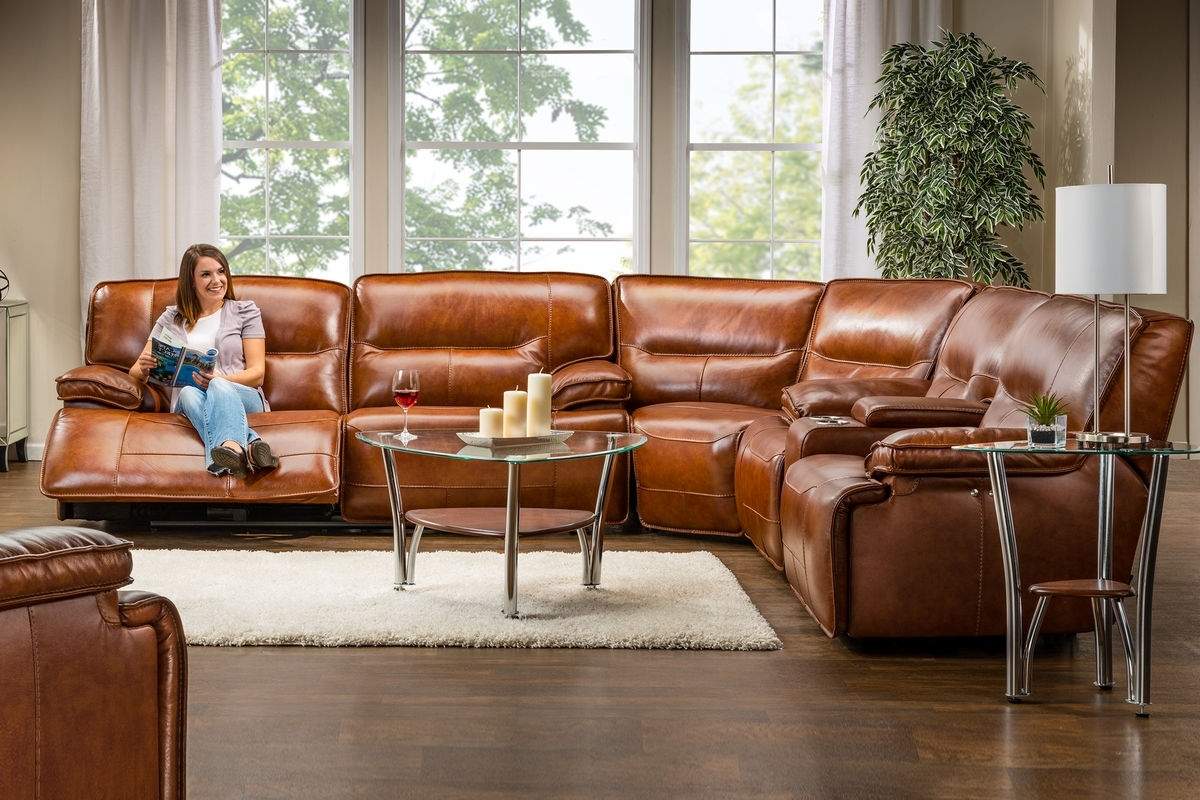 Fashionable Drake Leather Power Reclining Sectional At Gardner White Throughout Leather Recliner Sectional Sofas (View 7 of 20)