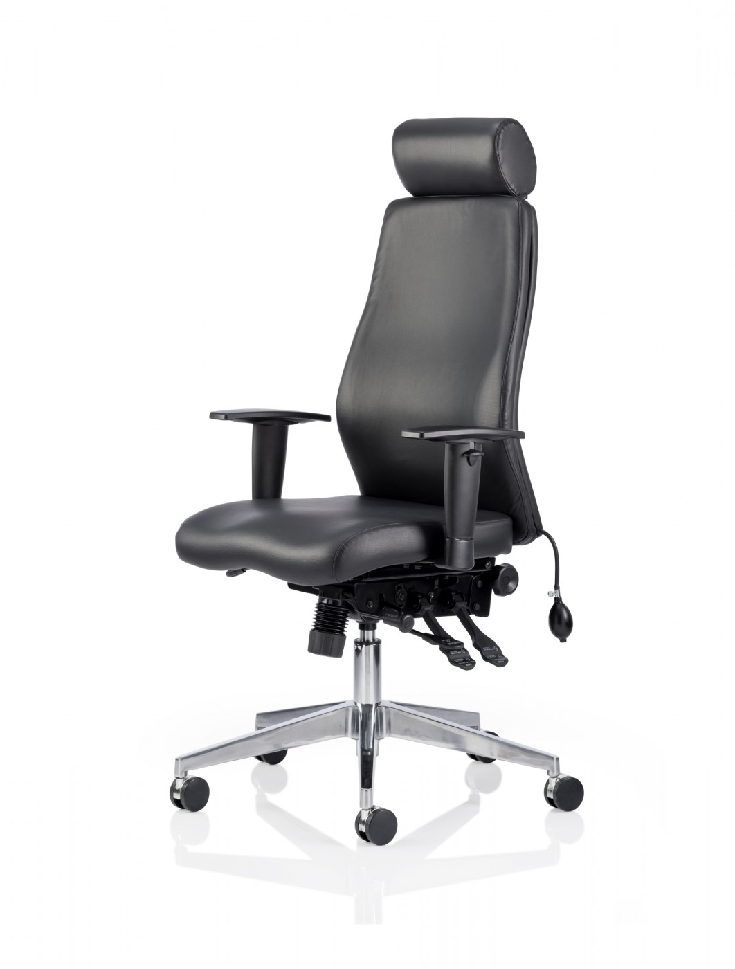 Fashionable Executive Office Chairs With Headrest In Dynamic Onyx Leather Office Chair With Headrest Ivonyx (View 9 of 20)