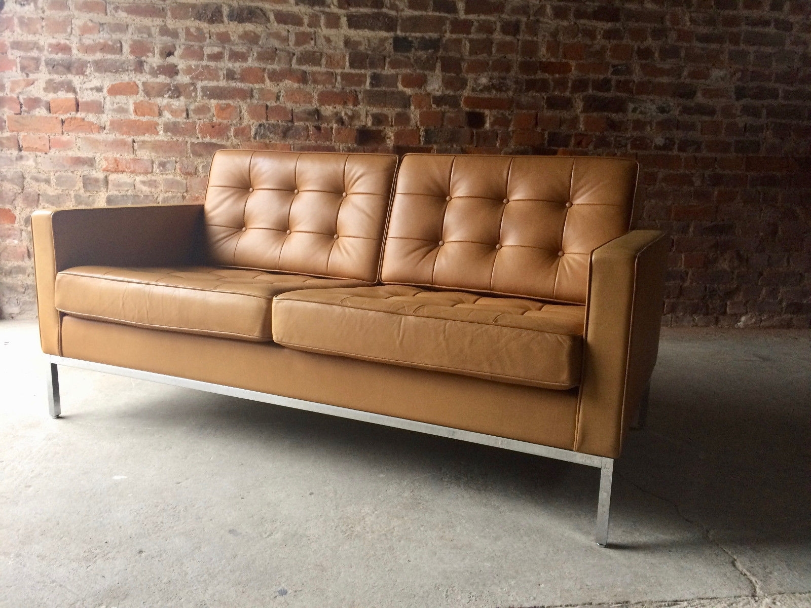 Fashionable Florence Leather Sofas In Vintage 2 Seater Leather Sofaflorence Knoll For Knoll For Sale (View 6 of 20)