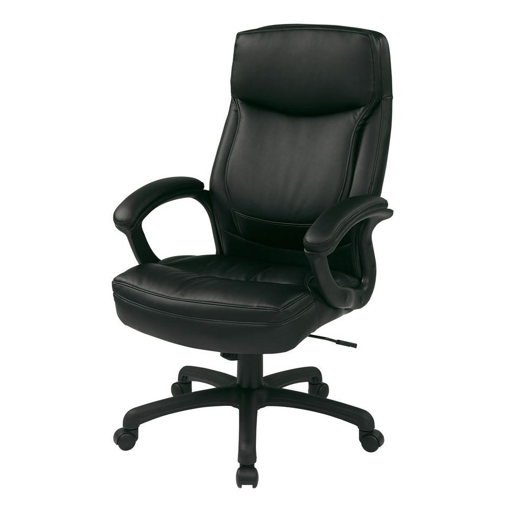 Fashionable Green Leather Executive Office Chairs With Work Smart – Office Chairs – Home Office Furniture – The Home Depot (View 3 of 20)