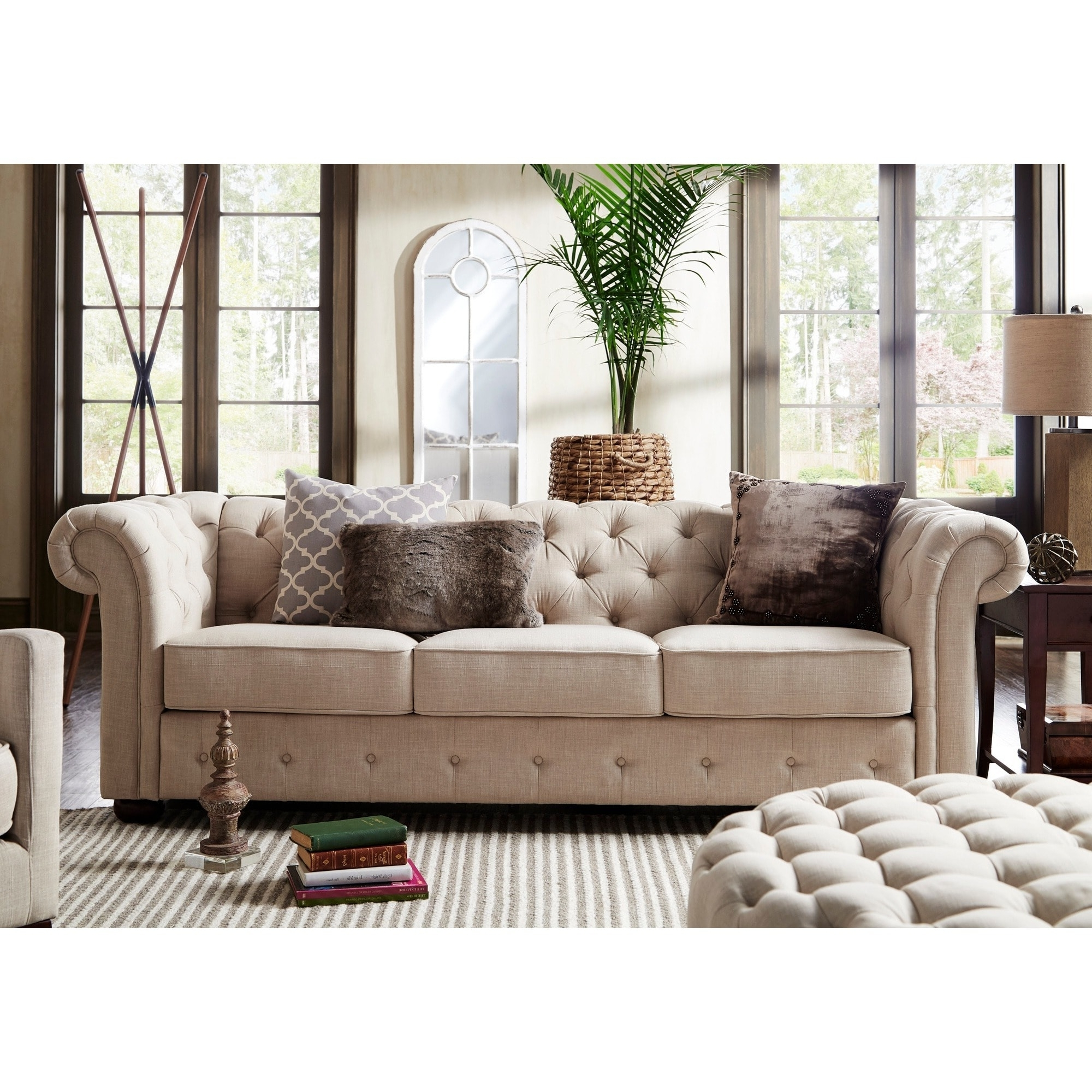 Fashionable Knightsbridge Beige Fabric On Tufted Chesterfield Sofa And Inside Sofas Chairs Gallery