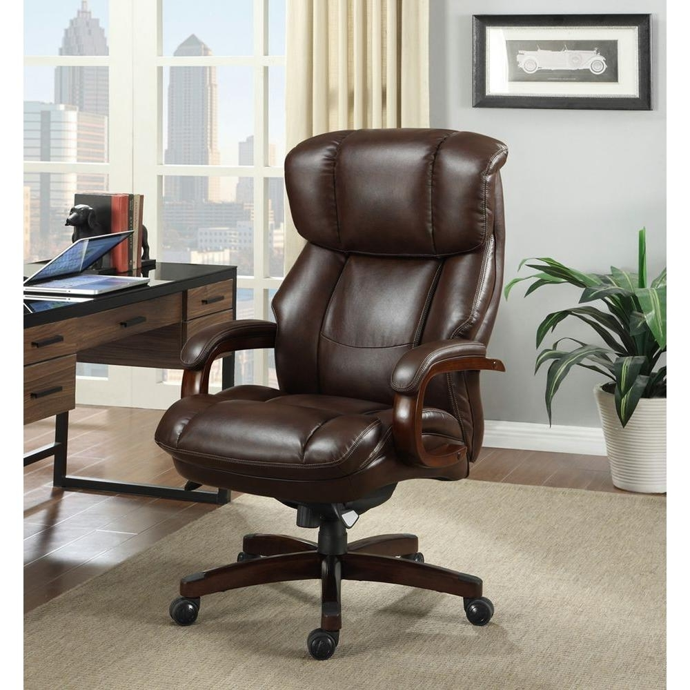 Fashionable La Z Boy Fairmont Biscuit Brown Bonded Leather Executive Office Pertaining To Wood And Leather Executive Office Chairs (View 12 of 20)