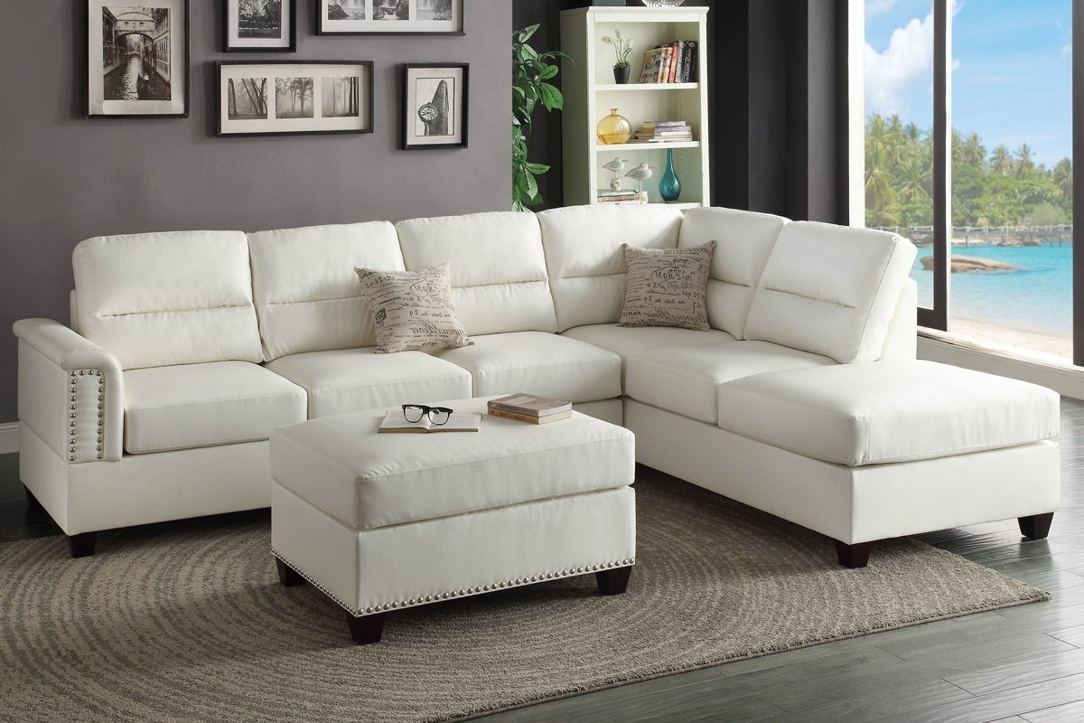 Fashionable Living Room: Amazon Com T35 White Bonded Leather Sectional Sofa Throughout Sectional Sofas At Amazon (View 6 of 20)