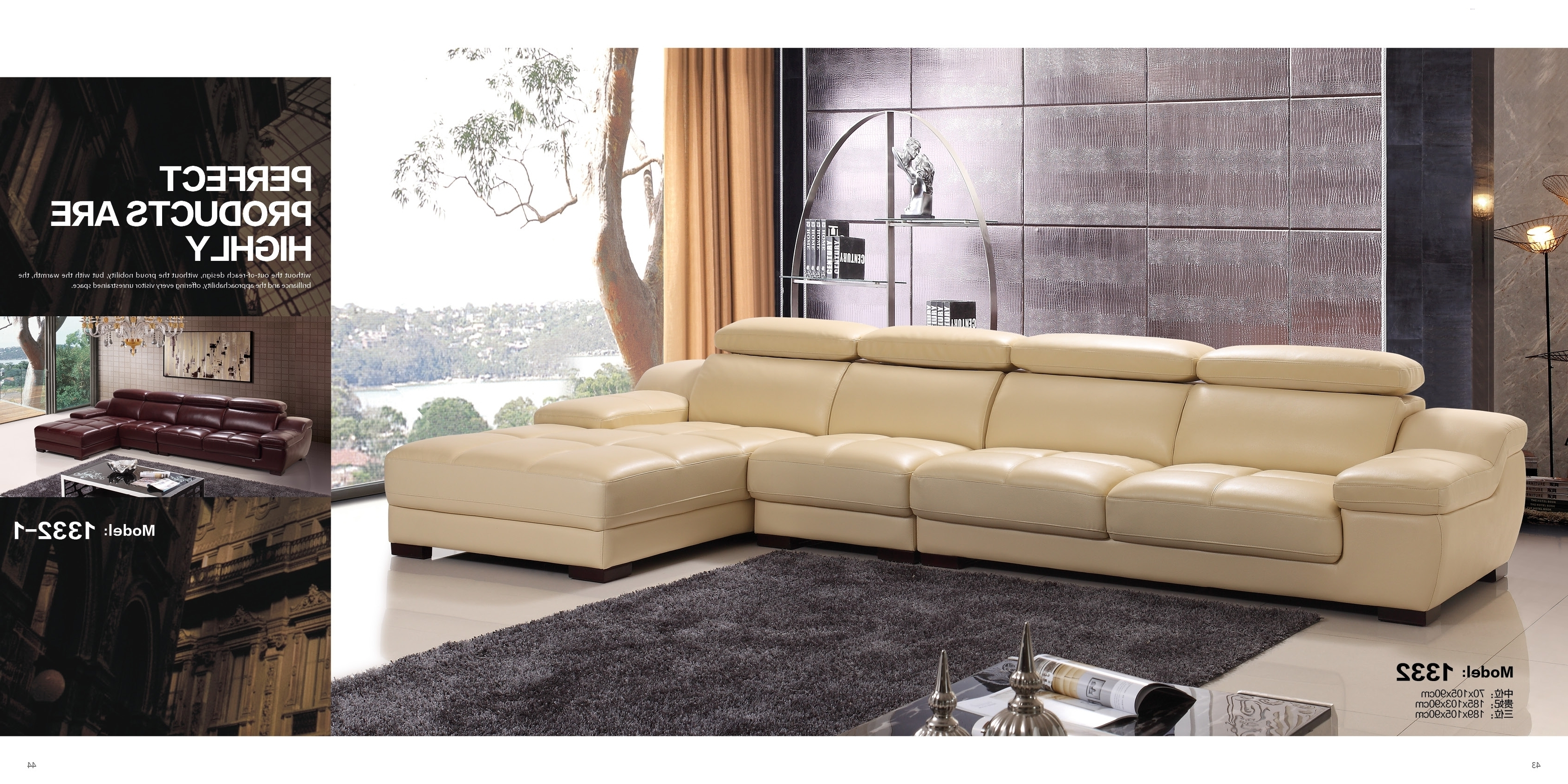 Fashionable Luxury Modern Living Room Italy Genuine Cow Leather Sofa L Shape Pertaining To Leather L Shaped Sectional Sofas (View 13 of 20)