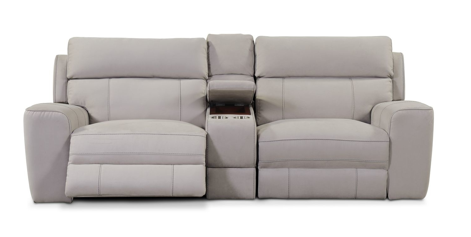 Fashionable Newport 3 Piece Power Reclining Sofa With Console – Light Gray Regarding Newport Sofas (View 3 of 20)