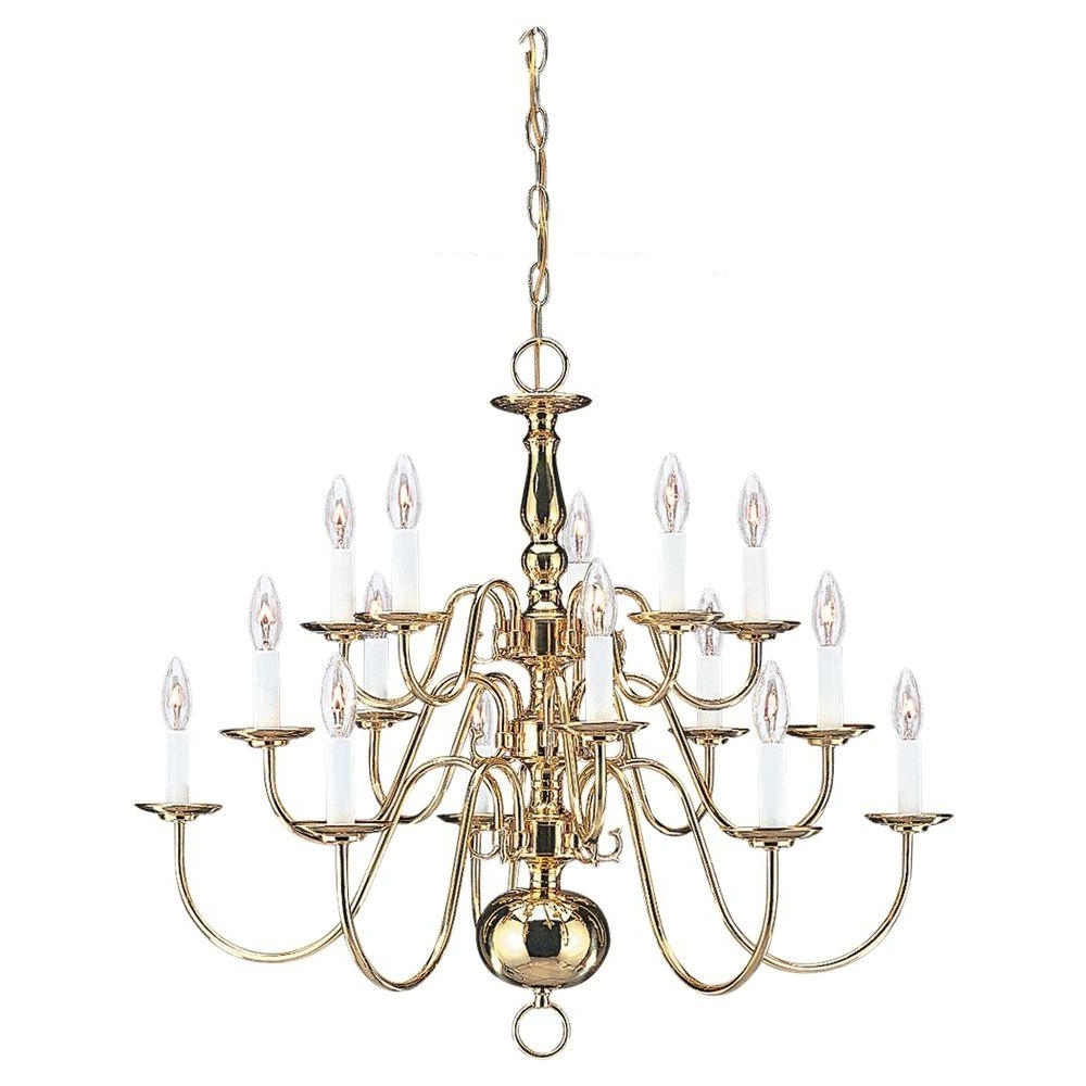Fashionable Sea Gull Lighting Traditional 15 Light Polished Brass Multi Tier Throughout Traditional Brass Chandeliers (View 5 of 20)