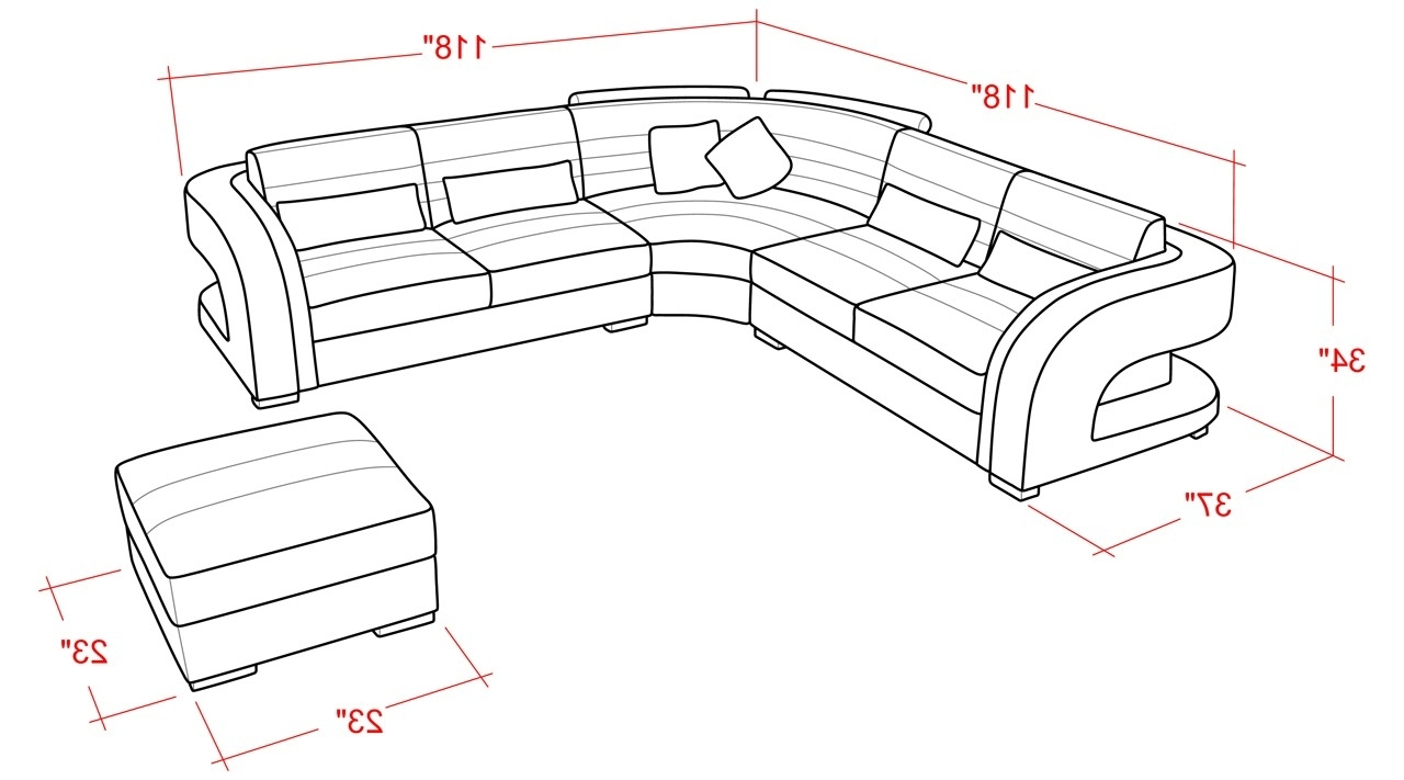 Fashionable Sectional Sofa Sizes And Cool Contemporary Leather Sectional Sofa From Opulent Items Ihso01284 17 Throughout Measurements Sectional Sofas (View 15 of 20)