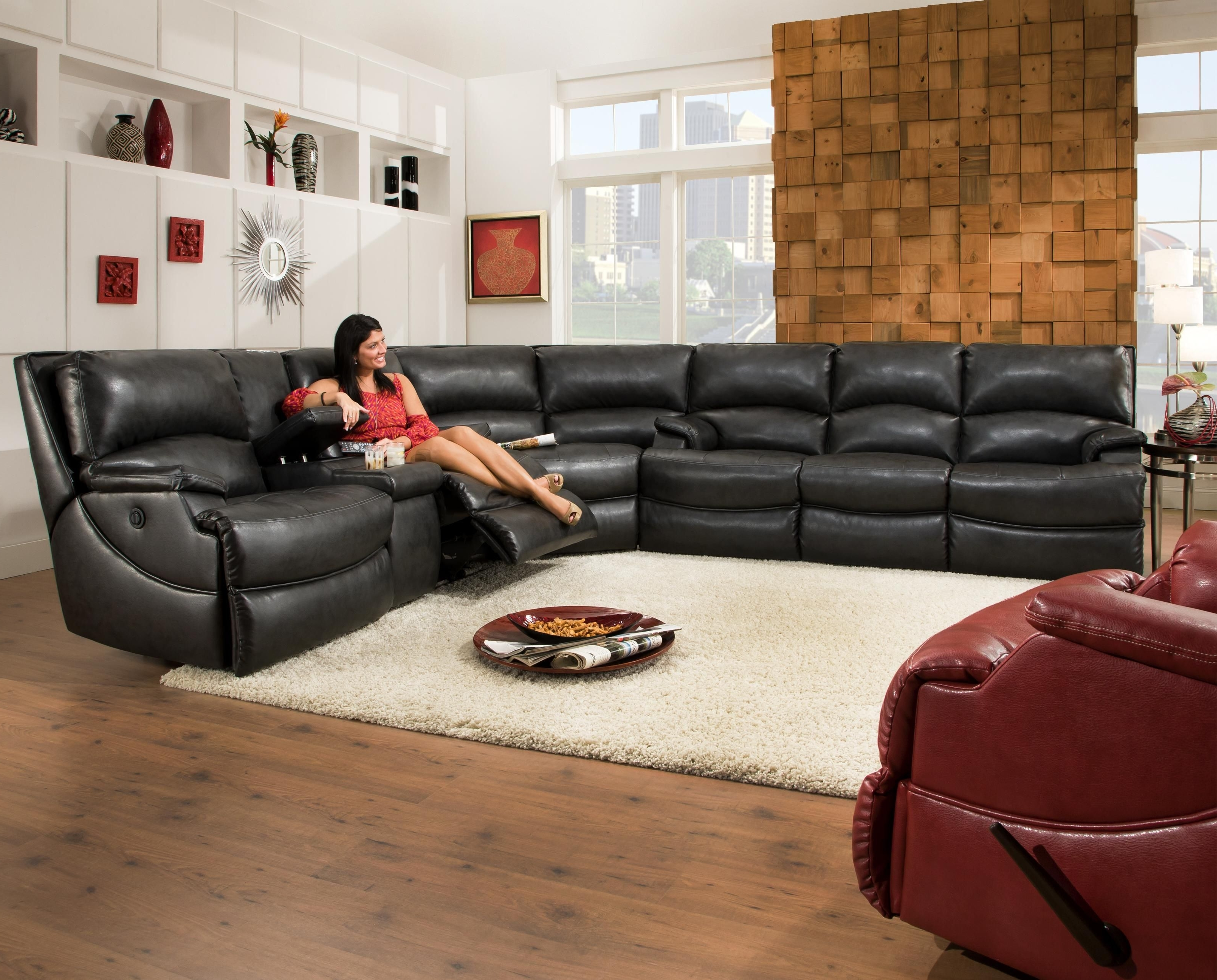 Fashionable Sectional Sofas With Consoles Pertaining To Southern Motion Shazam Six Seat Reclining Sectional Sofa With Cup (View 5 of 20)