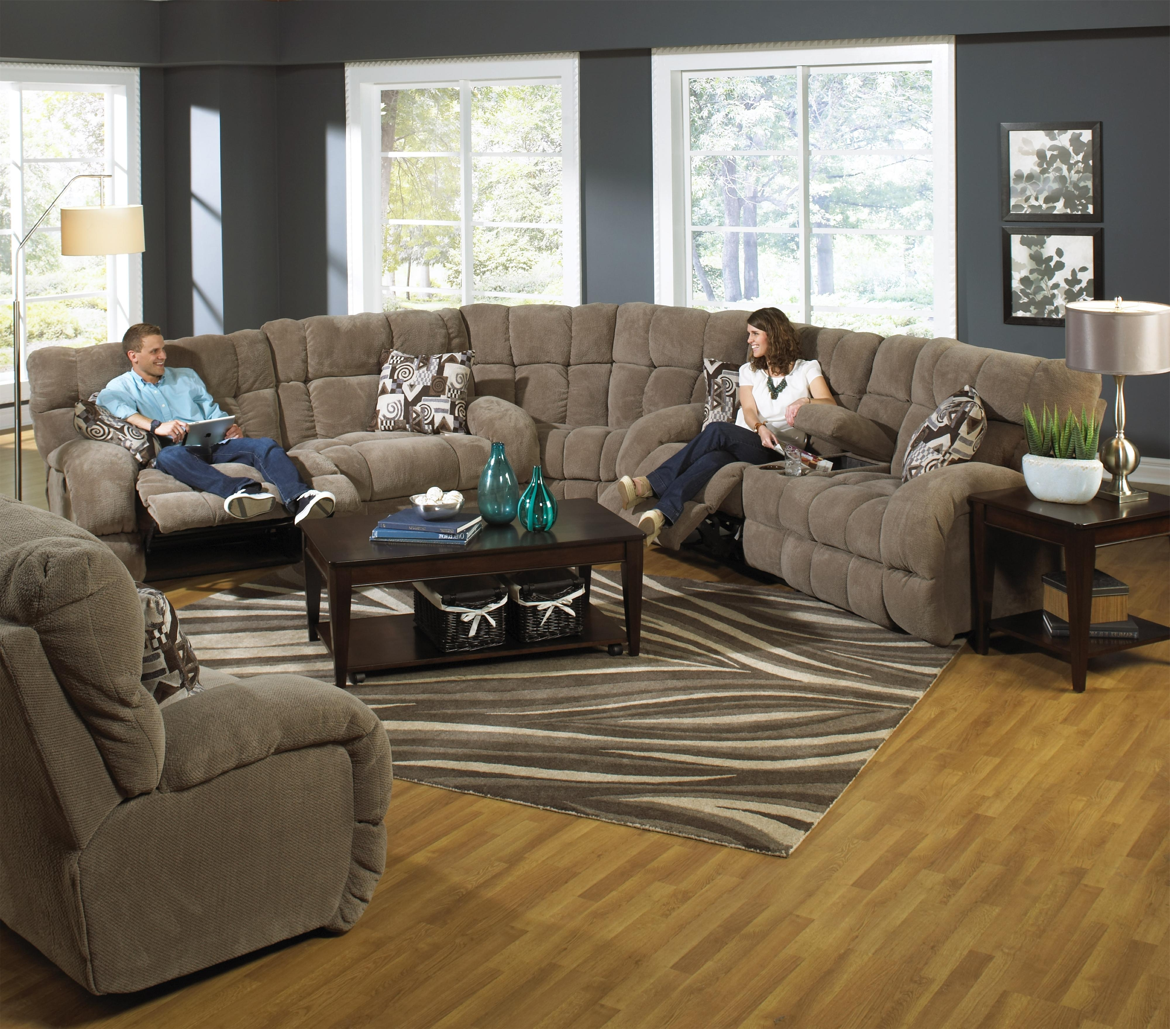 Fashionable Sectional Sofas With Power Recliners Throughout Catnapper Siesta Power Reclining Sectional Sofa With Cup Holders (View 8 of 20)