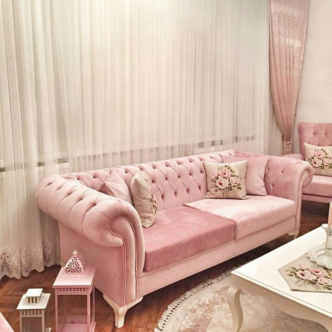 Fashionable Sofa Shabby Chic Pink Queeny Queen Furniture Living Room Minimalis In Shabby Chic Sofas (View 4 of 20)