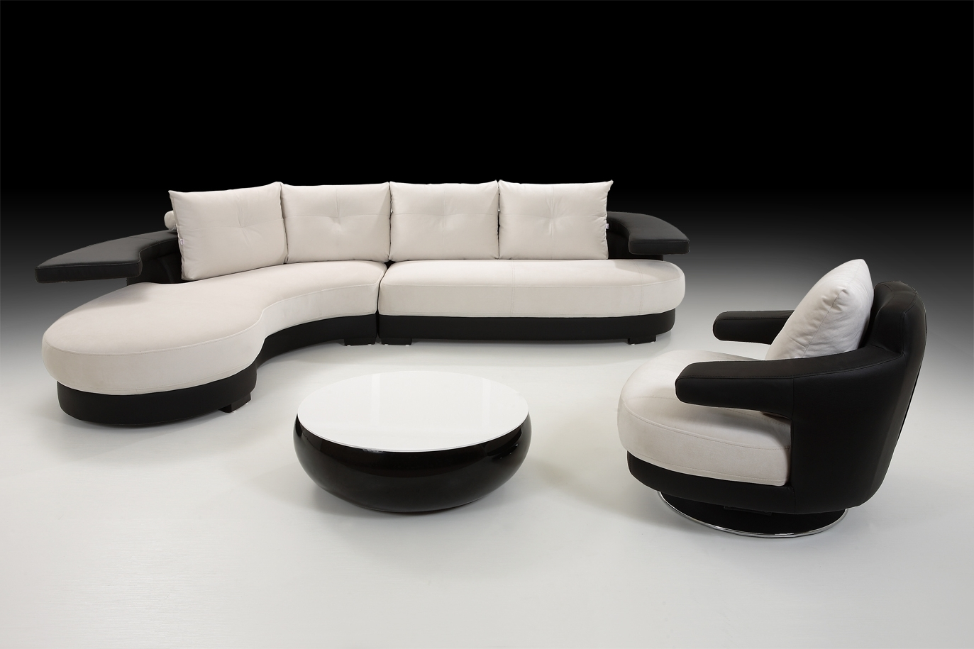 Fashionable Sofas: Black White Corner Sofa With Armchair And Stool, Black With Regard To Black And White Sofas (View 10 of 20)