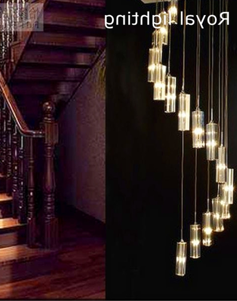 Fashionable Stairway Chandeliers Throughout Spiral Staircase Led Chandelier Lighting Long Stairway Crystal (View 6 of 20)