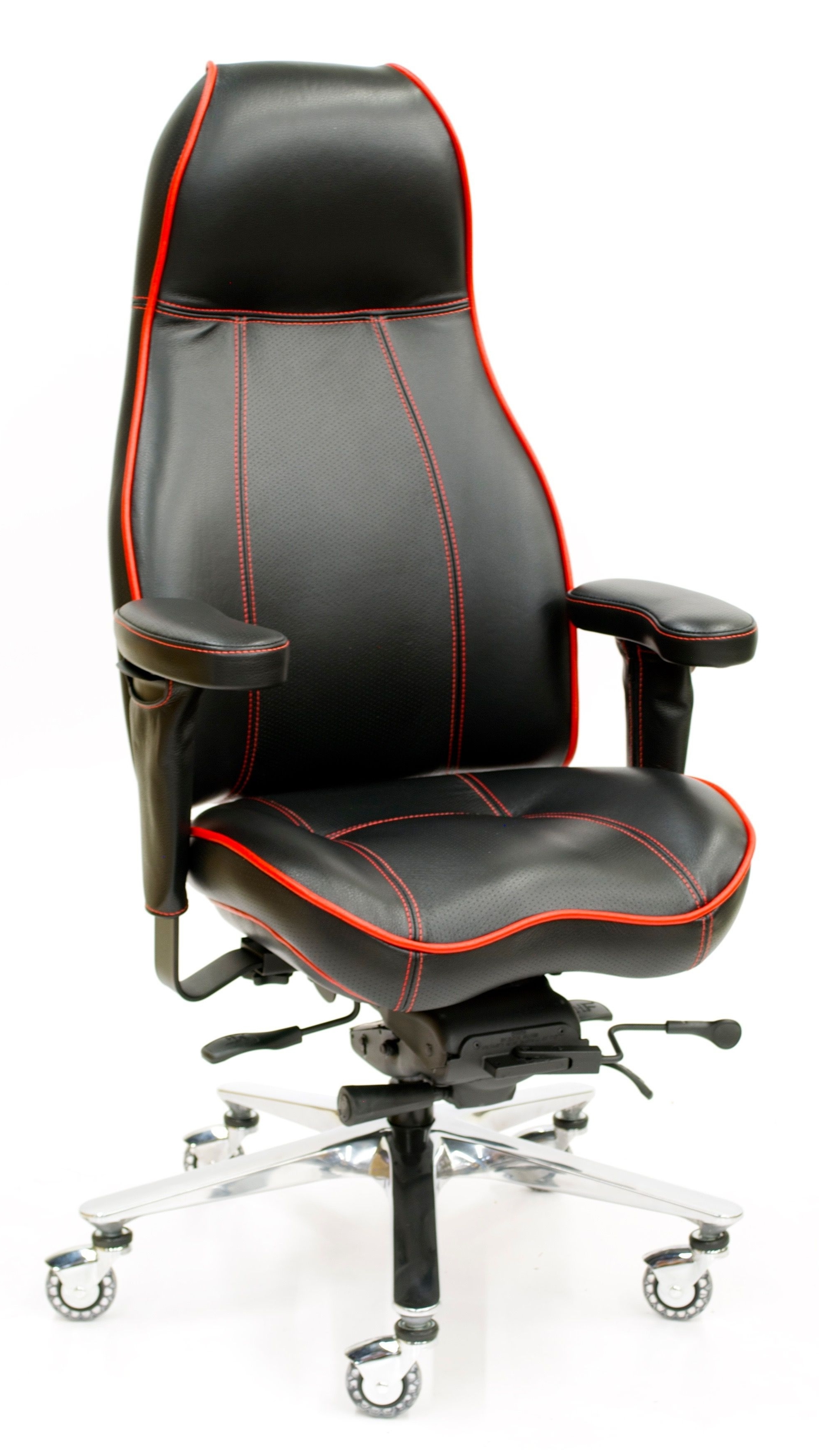 Fashionable Thick Red Contrast Stitching On 2390 High Back Ultimate Executive Intended For Premium Executive Office Chairs (View 7 of 20)