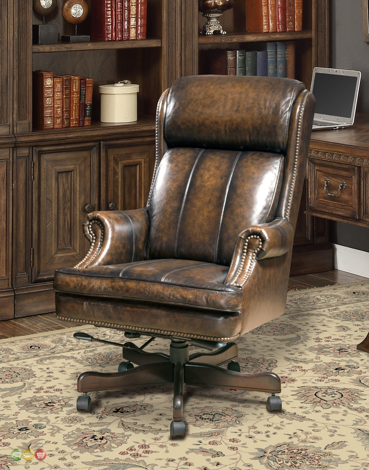 Fashionable Traditional Leather Executive Desk Chair • Desk Chair With Genuine Leather Executive Office Chairs (View 3 of 20)