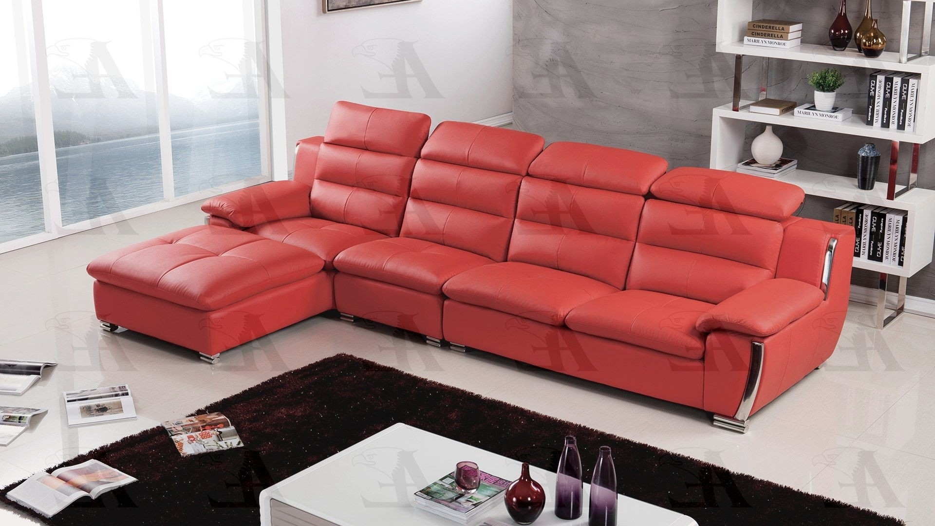 Faux Leather Sectional Inside Preferred Red Faux Leather Sectionals (View 9 of 20)