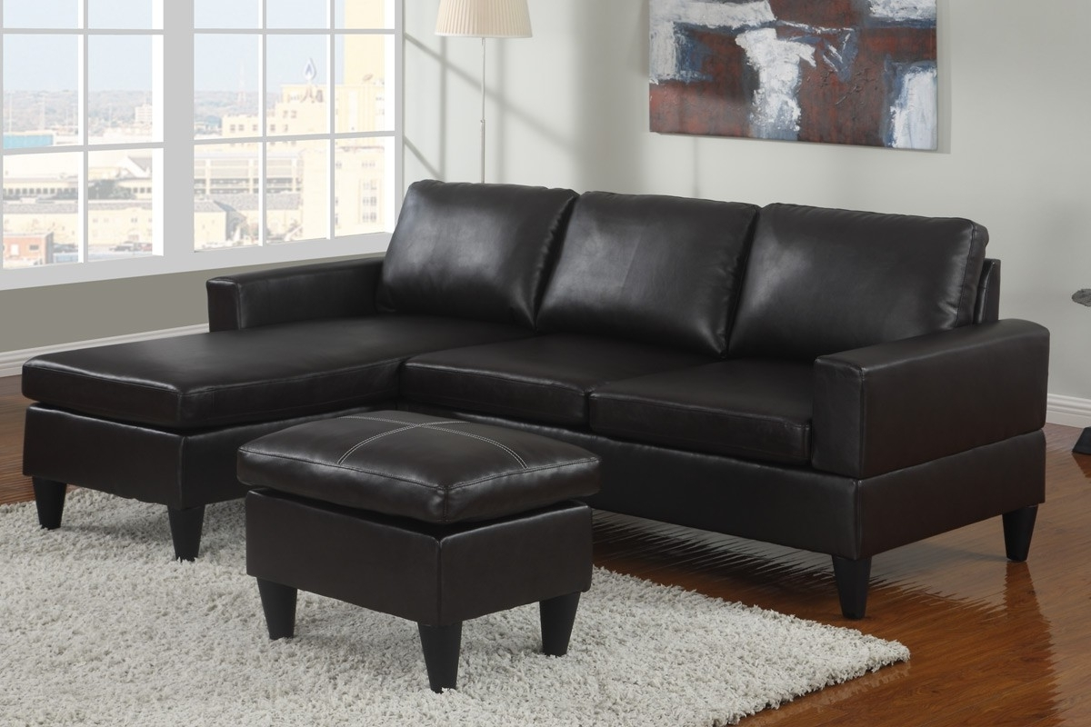Faux Leather Sectional Sofas Throughout Most Popular Small Espresso Faux Leather Sectional Sofa With Ottoman Lowest (View 8 of 20)