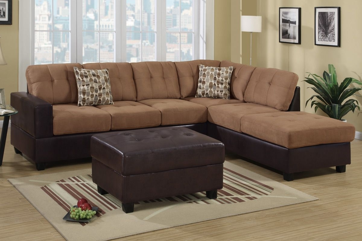 Faux Leather Sectional Sofas With Regard To Popular Hagan Saddle Faux Leather Sectional Sofa – Steal A Sofa Furniture (View 2 of 20)