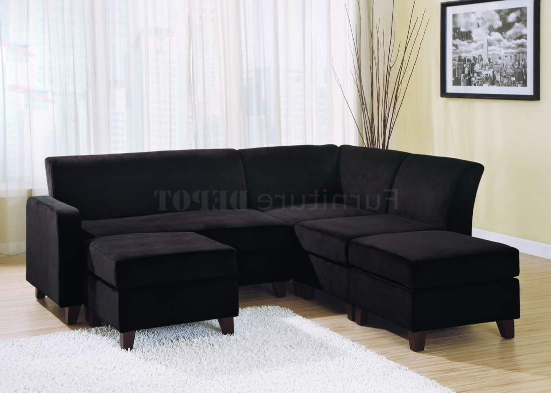 Favorite Black Sectional Sofas Pertaining To Black Microfiber Stylish Sectional Sofa – S3Net – Sectional Sofas (View 4 of 20)