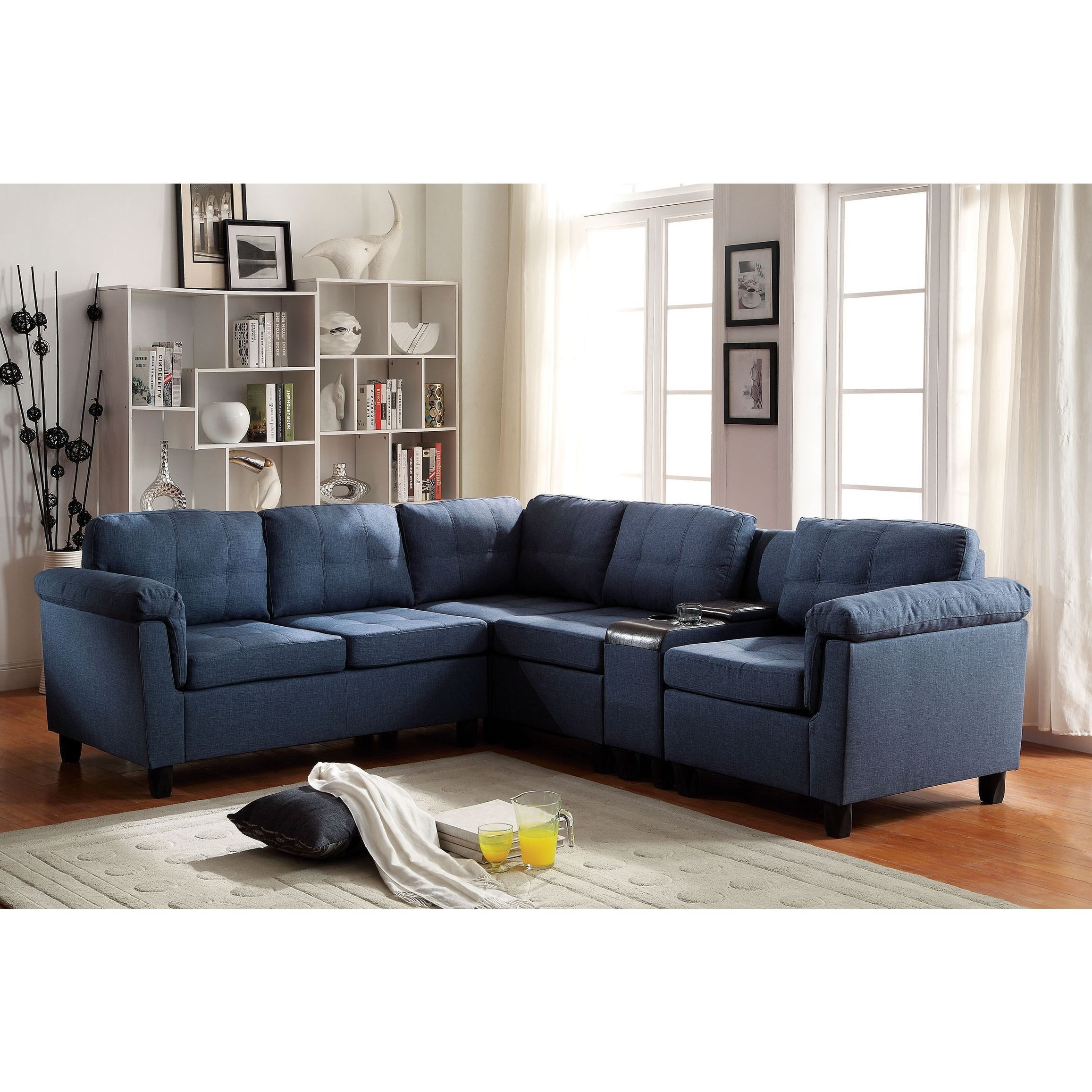 Favorite Cleavon Sectional Sofa With Console, Linen (blue) (foam Pertaining To Eau Claire Wi Sectional Sofas (View 10 of 20)
