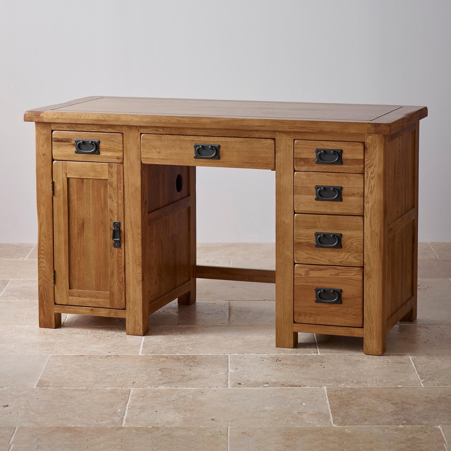 Favorite Computer Desks In Oak Intended For Original Rustic Computer Desk In Solid Oak (View 10 of 20)