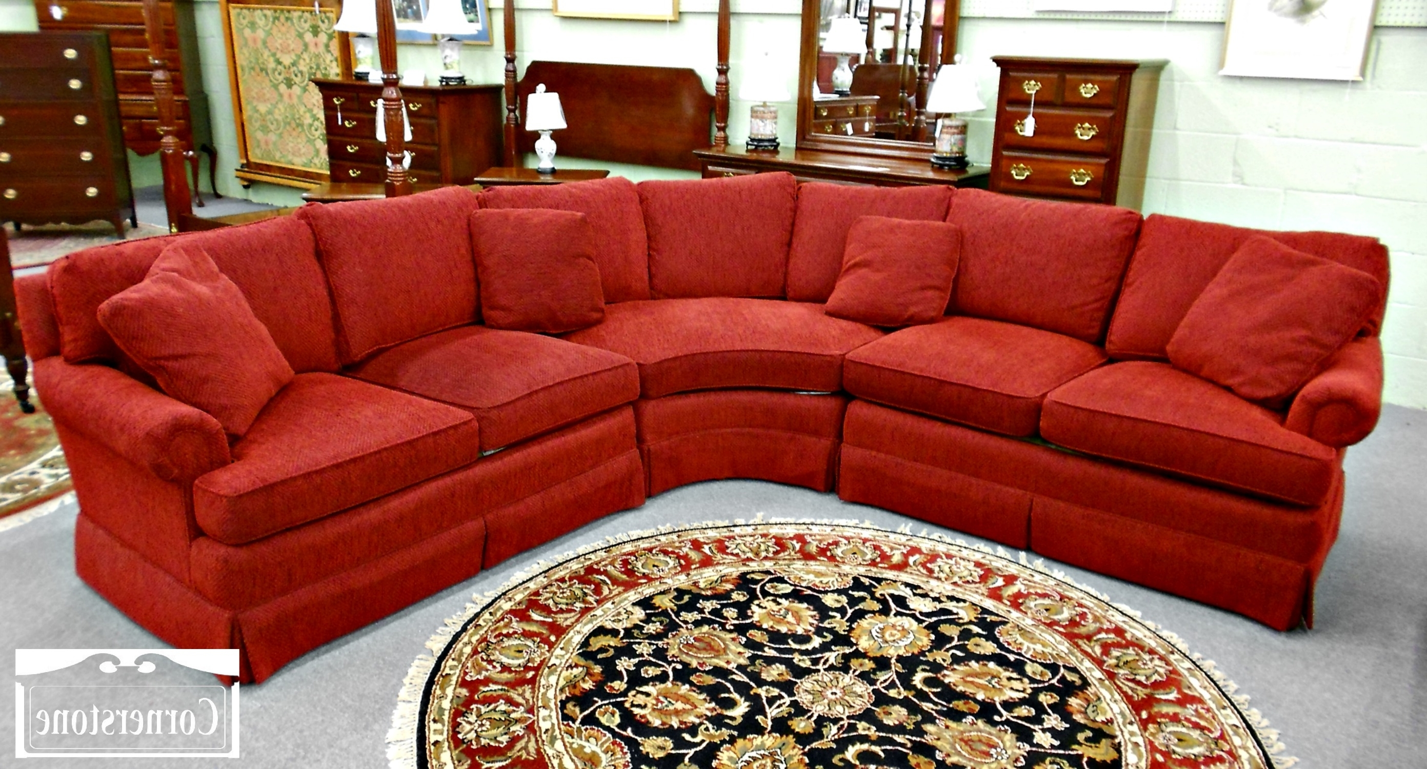 Favorite Curved Red Velvet Sectional Sofa With Square Cushions And Back Intended For Red Sectional Sofas (View 7 of 20)