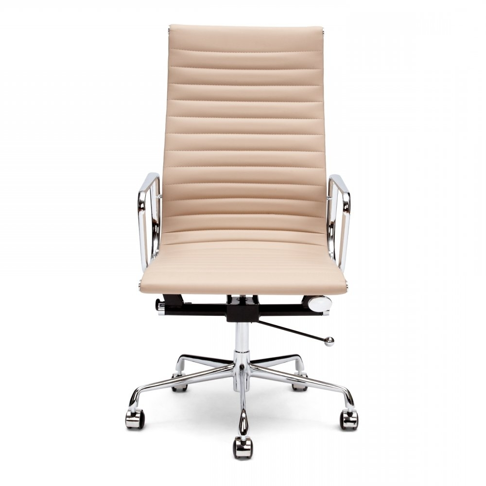 Favorite Eames Style Beige Ribbed Office Chair (View 5 of 20)
