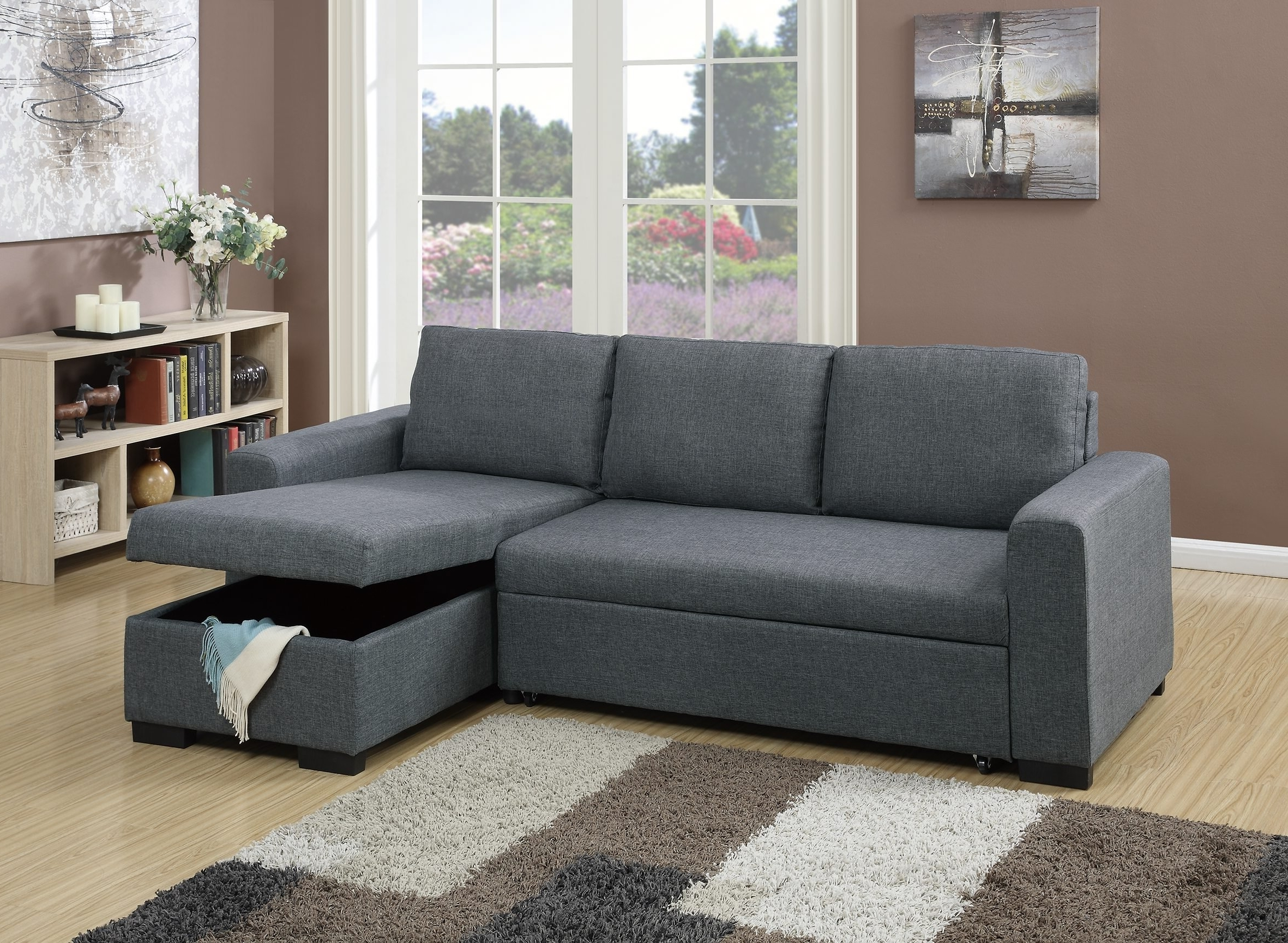 Favorite F6931 Blue Gray Convertible Sectional Sofapoundex In Convertible Sectional Sofas (View 7 of 20)