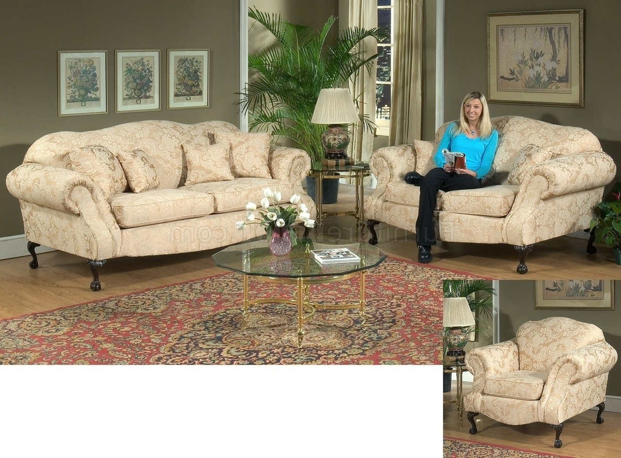 Favorite Fabric Traditional Sofa & Loveseat Set W/optional Chair In Traditional Fabric Sofas (View 7 of 20)
