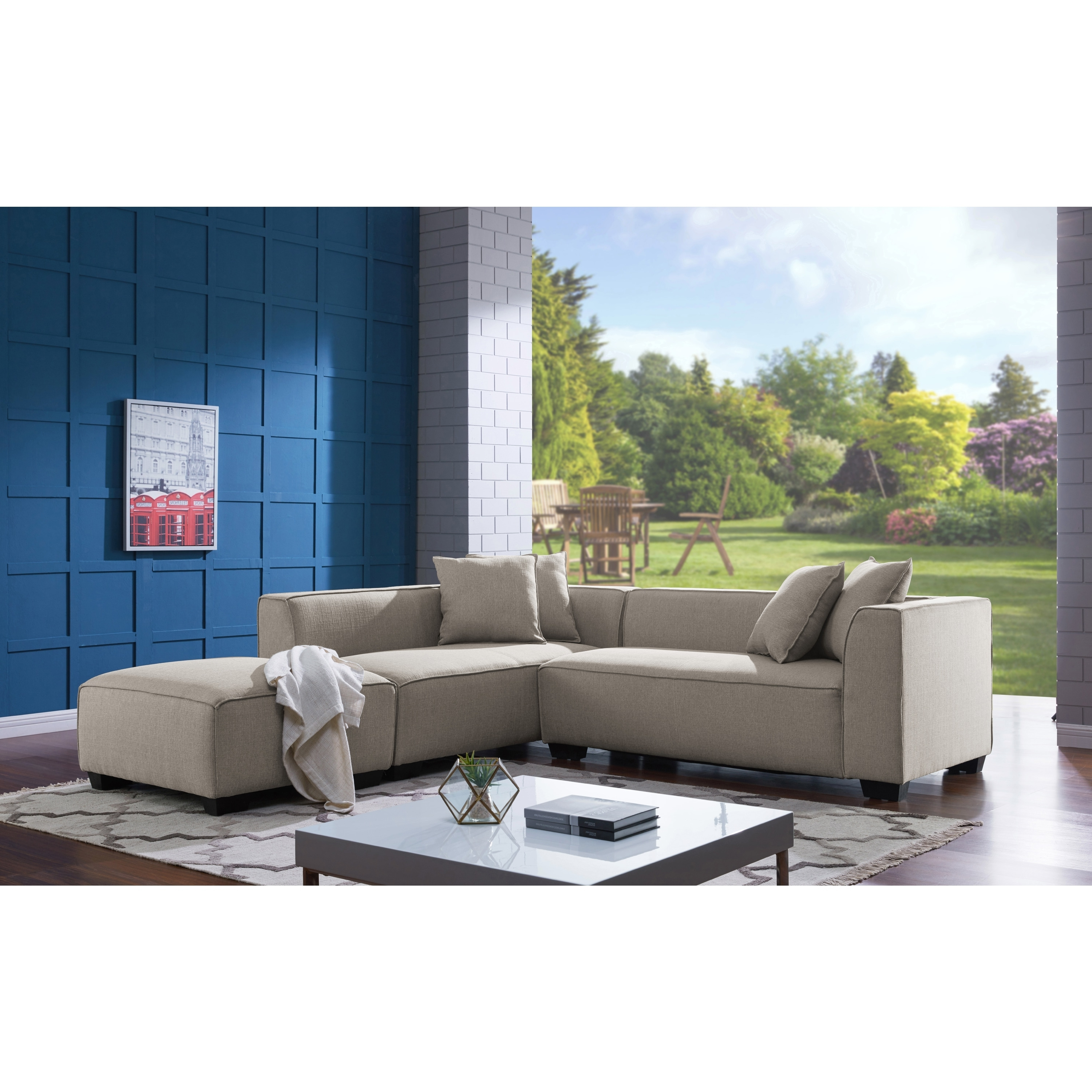 Favorite Handy Living Phoenix Barley Tan Sectional Sofa With Ottoman – Free Regarding Phoenix Sectional Sofas (View 6 of 20)