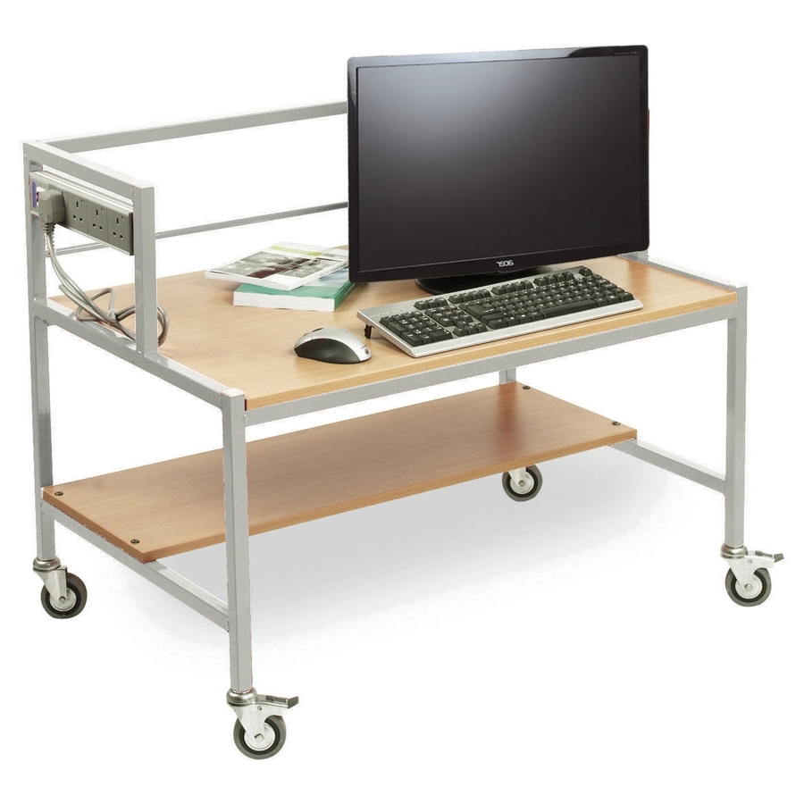 Favorite Single Tier Computer Trolley Desk Regarding Computer Desks For Schools (View 5 of 20)