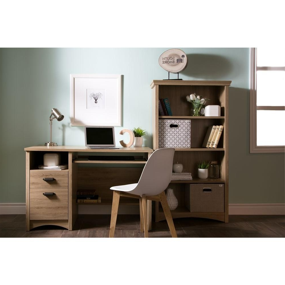 Favorite South Shore Gascony Rustic Oak Desk 9064070 – The Home Depot Within Rustic Computer Desks (View 3 of 20)