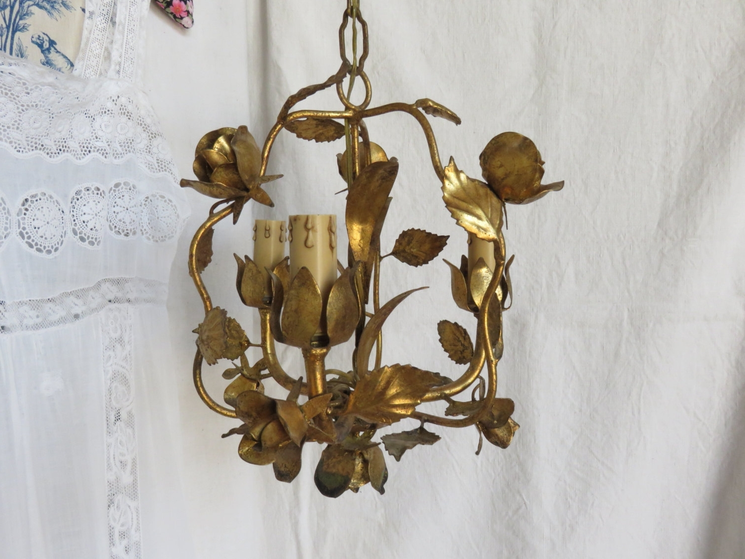 Favorite Vintage French Chandeliers Within Vintage French Gilt Roses Hanging Lamp, Toleware Chandelier (Gallery 16 of 20)